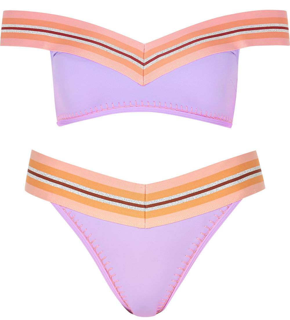 River Island Light Purple Stripe Elastic Bardot Bikini