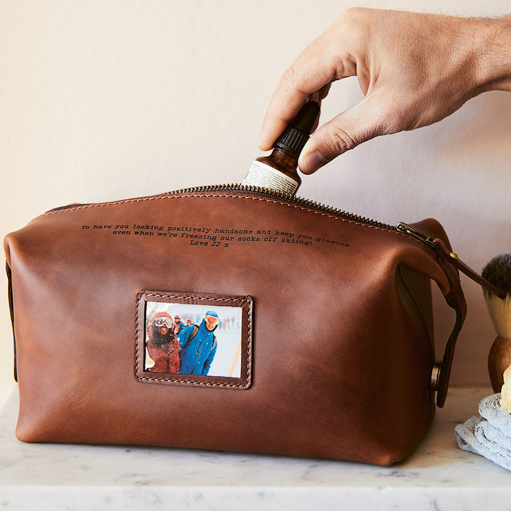Personalised Leather Wash Bag,