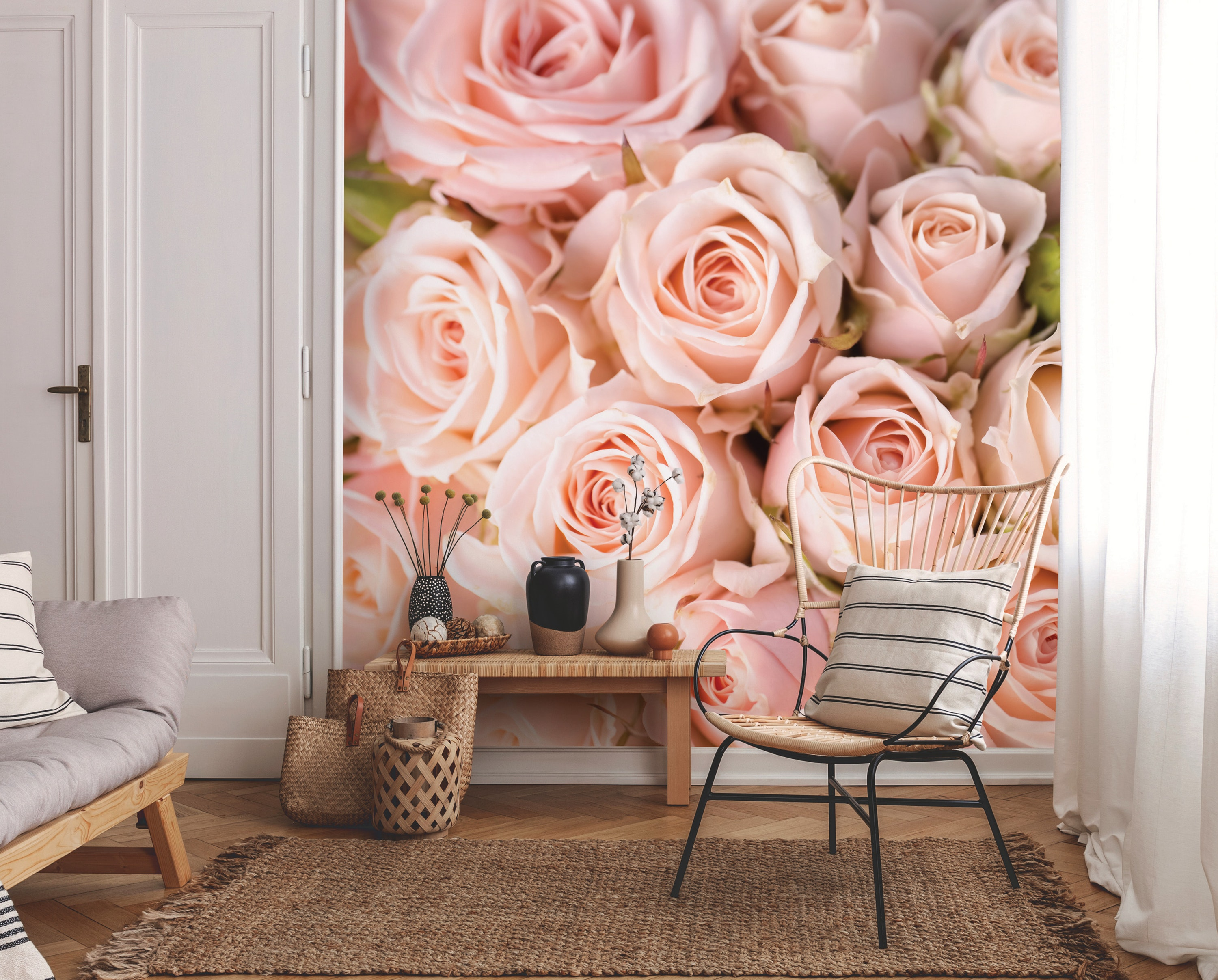 Bright Pink Roses Wallpaper Mural