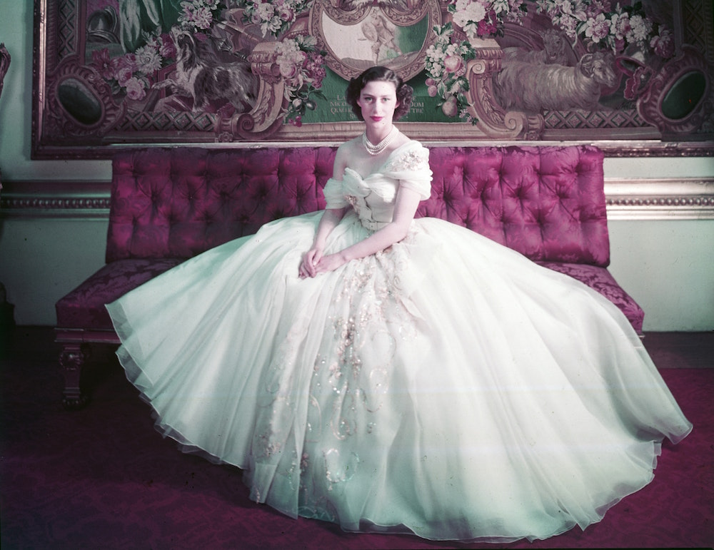 Princess Margaret in her 21st birthday dress by Dior