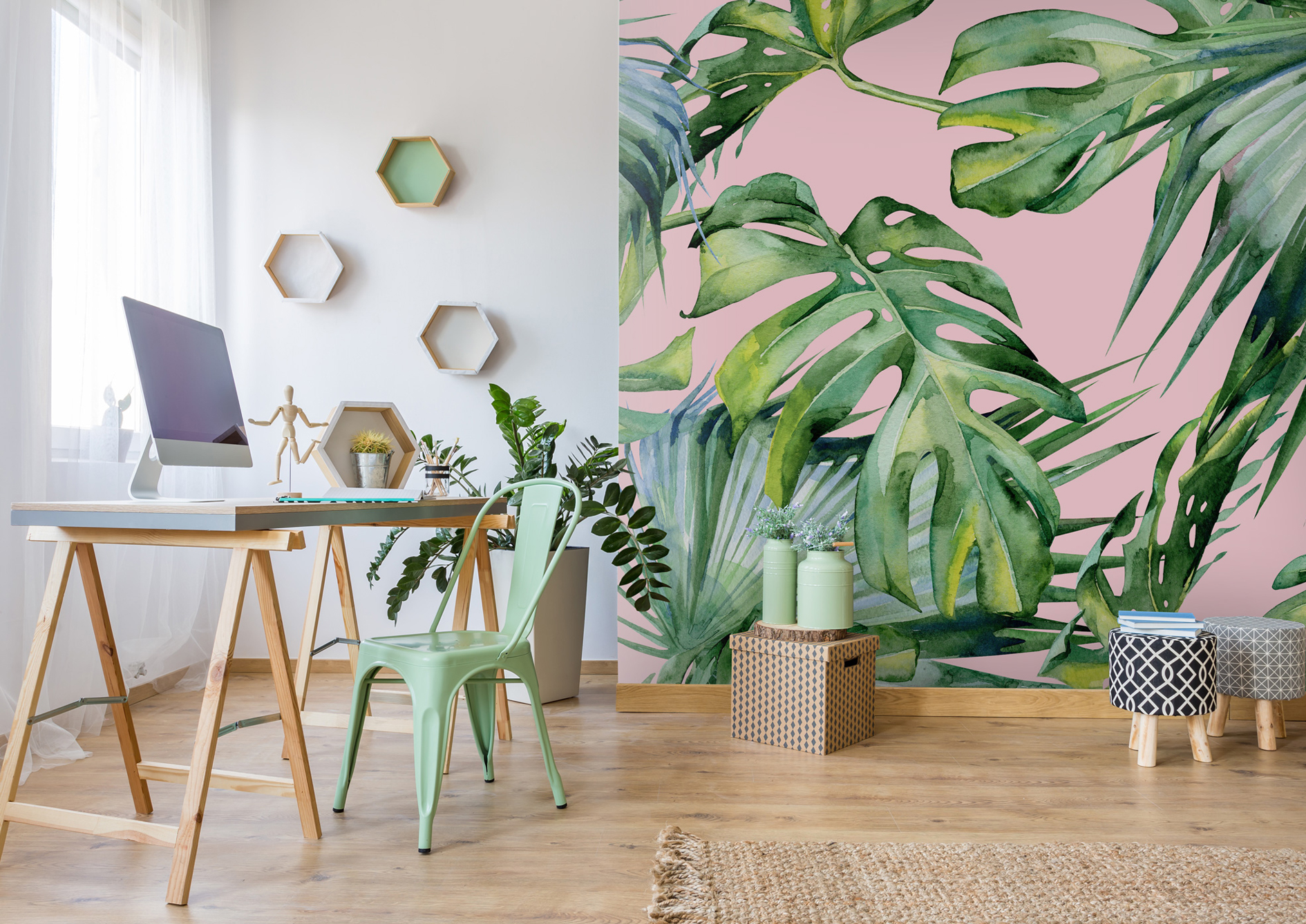 Pink Jungle Wallpaper, from £26 per square metre, Wallsauce