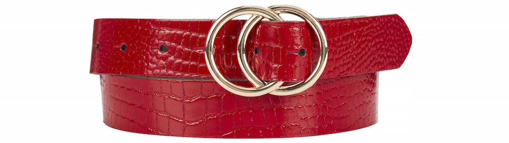 Next Red Croc Effect Circle Buckle Belt