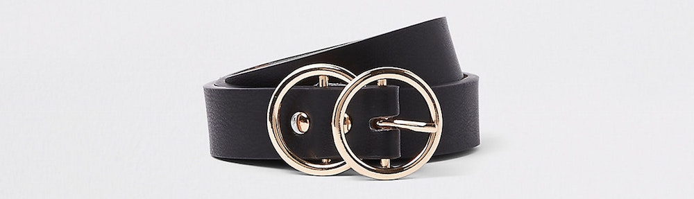 River Island Black Double Ring Mini Jeans Belt
