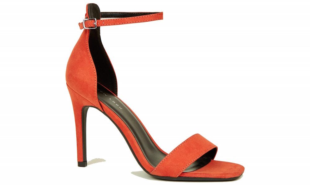 New Look Orange Suedette Square Toe Two Part Sandals