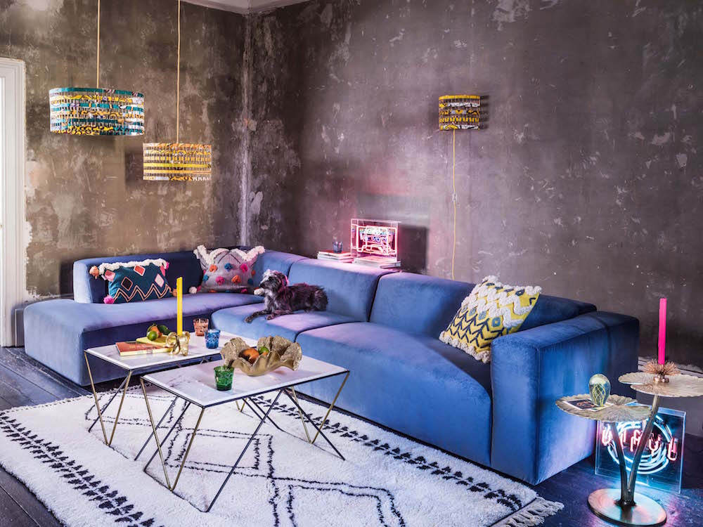 Miami Collection Navy Blue Classic Velvet Sofa