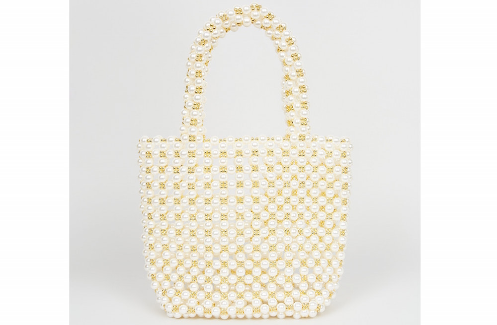 White Faux Pearl Beaded Bag