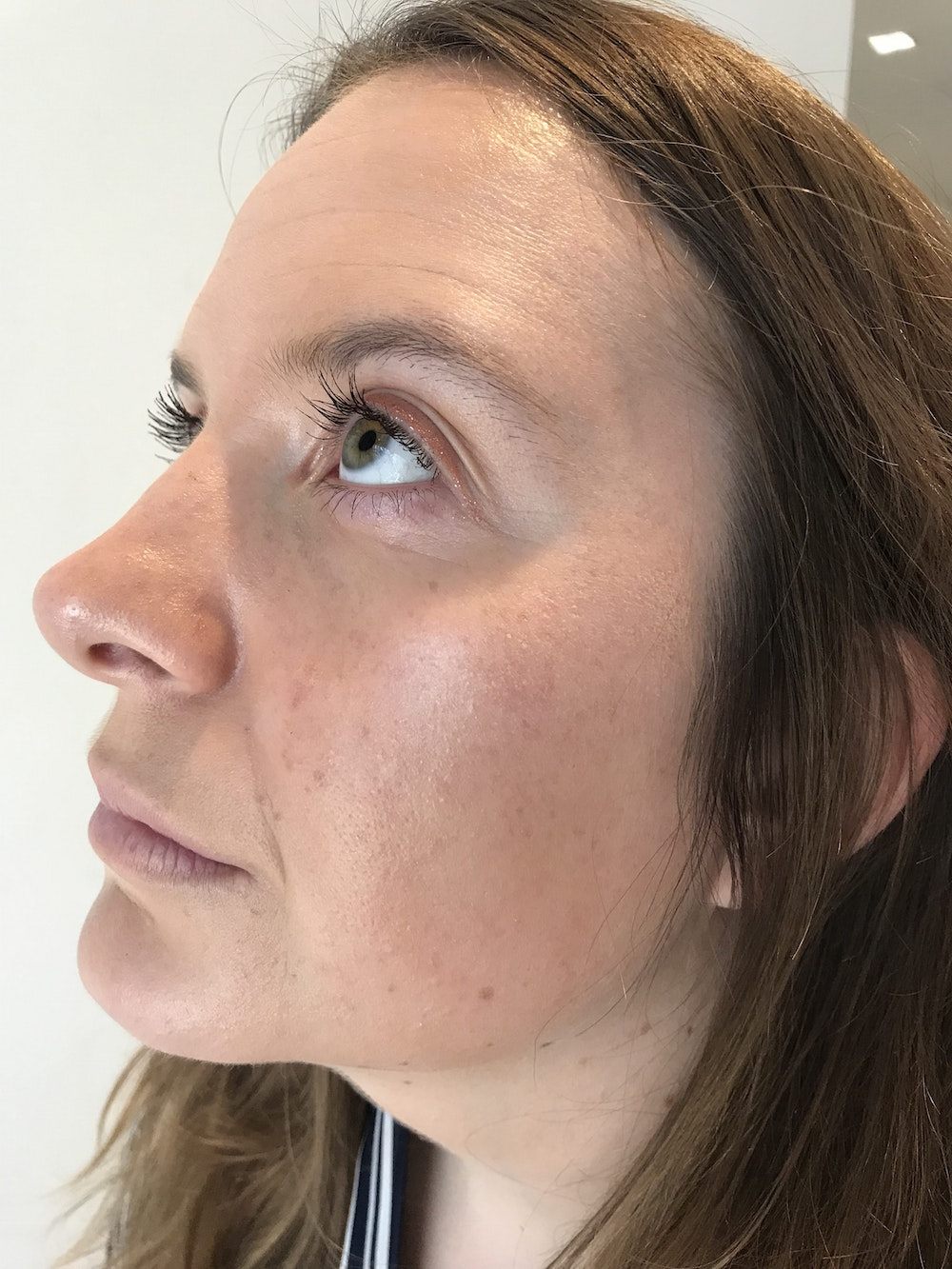 Georgia wearing Glossier Play Niteshine in Pale Pearl