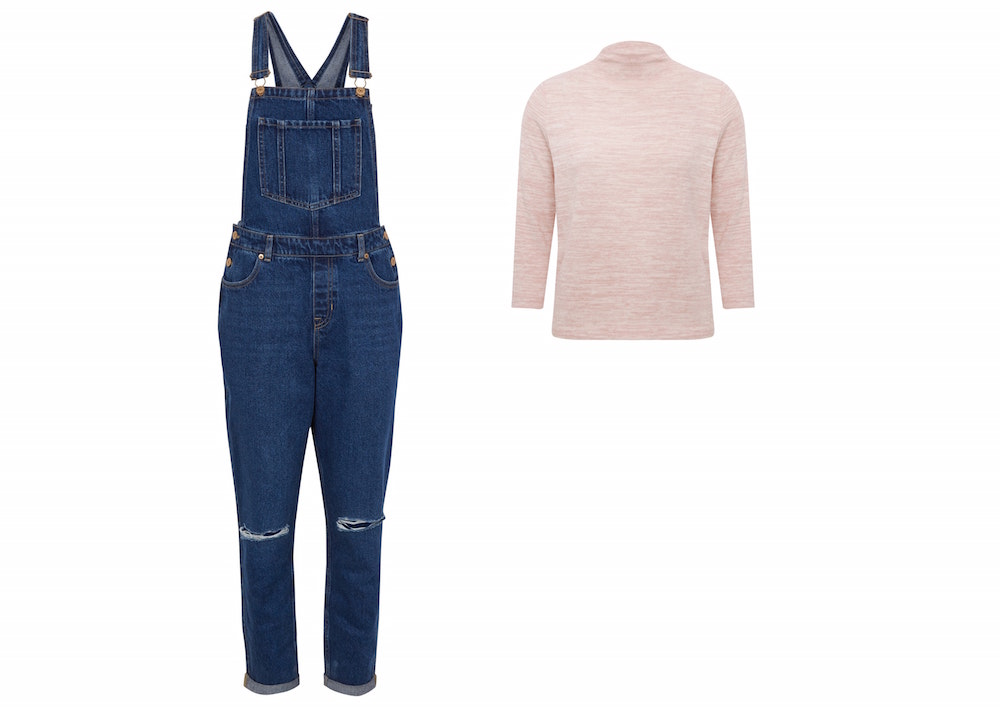 New Look Blue Ripped Knee Denim Dungarees