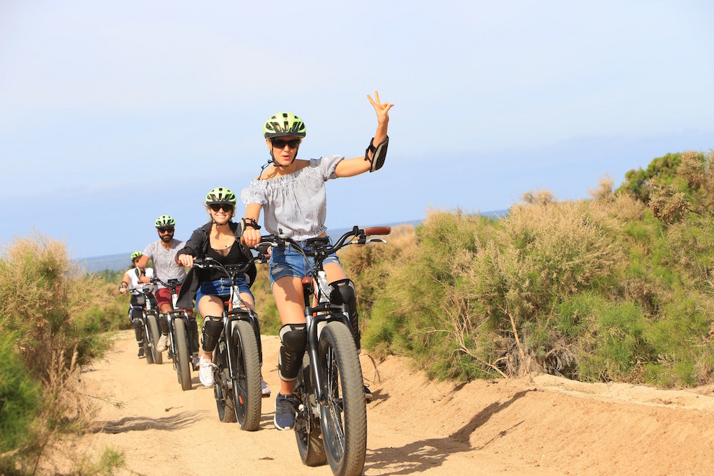E-biking along desert trails
