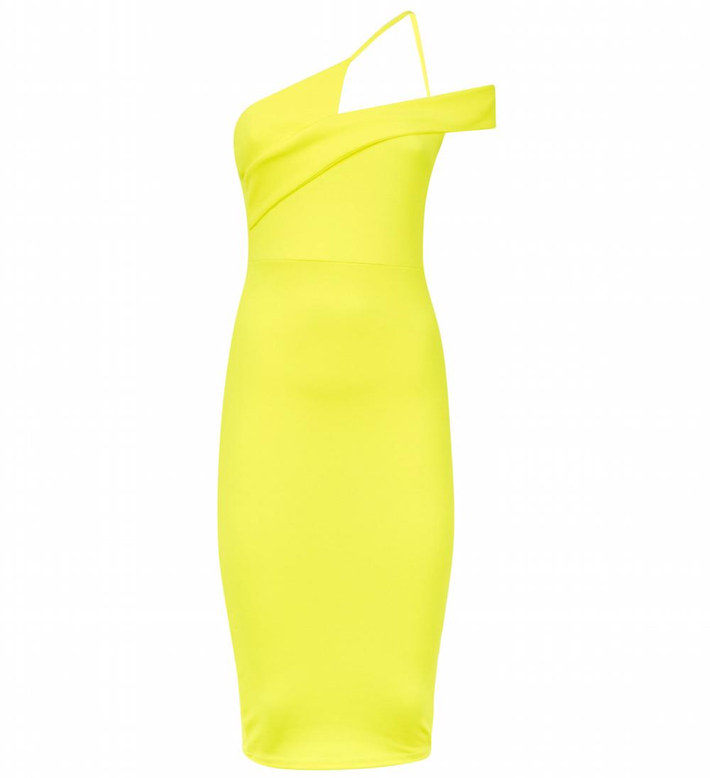 New Look Yellow Neon Asymmetric Strap Bodycon Dress