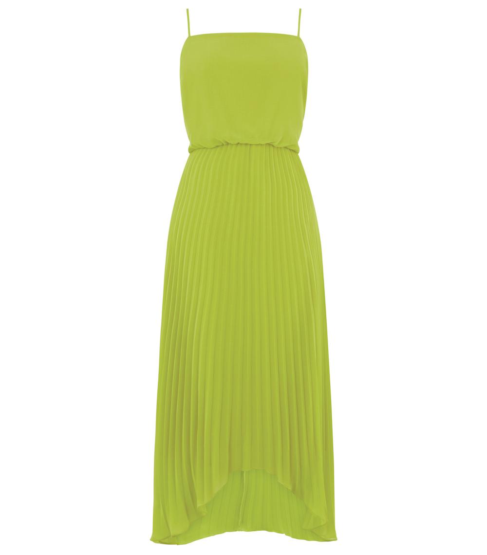 Oasis Lime Pleated Midi Dress