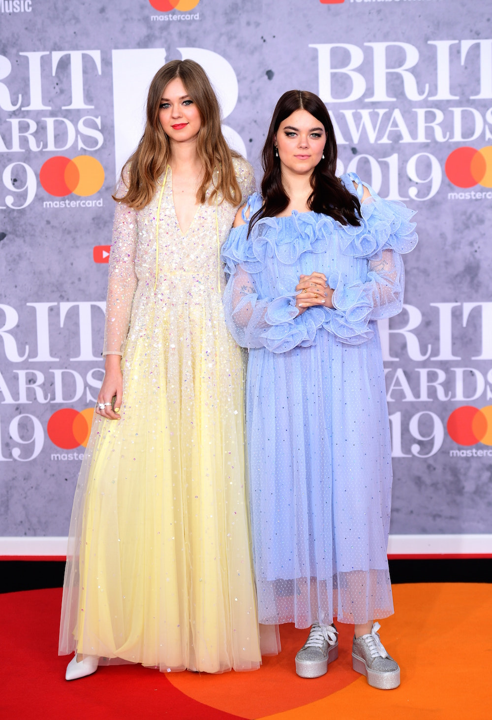 Johanna Soderberg and Klara Soderberg of the band First Aid Kit at this years Brit Awards (Ian West/PA)