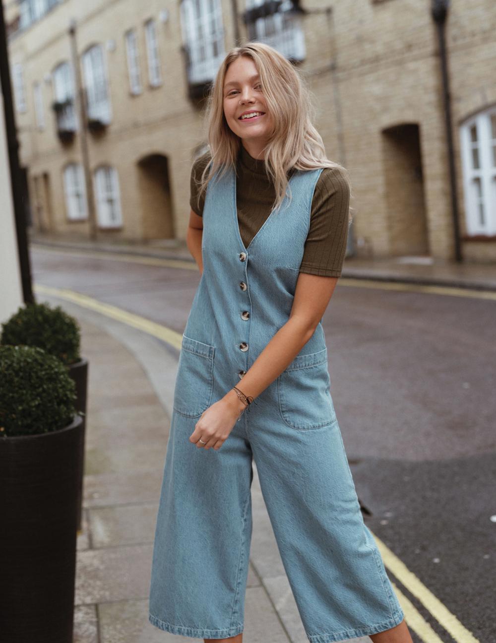 Miss Selfridge Light Blue Denim Button Romper
