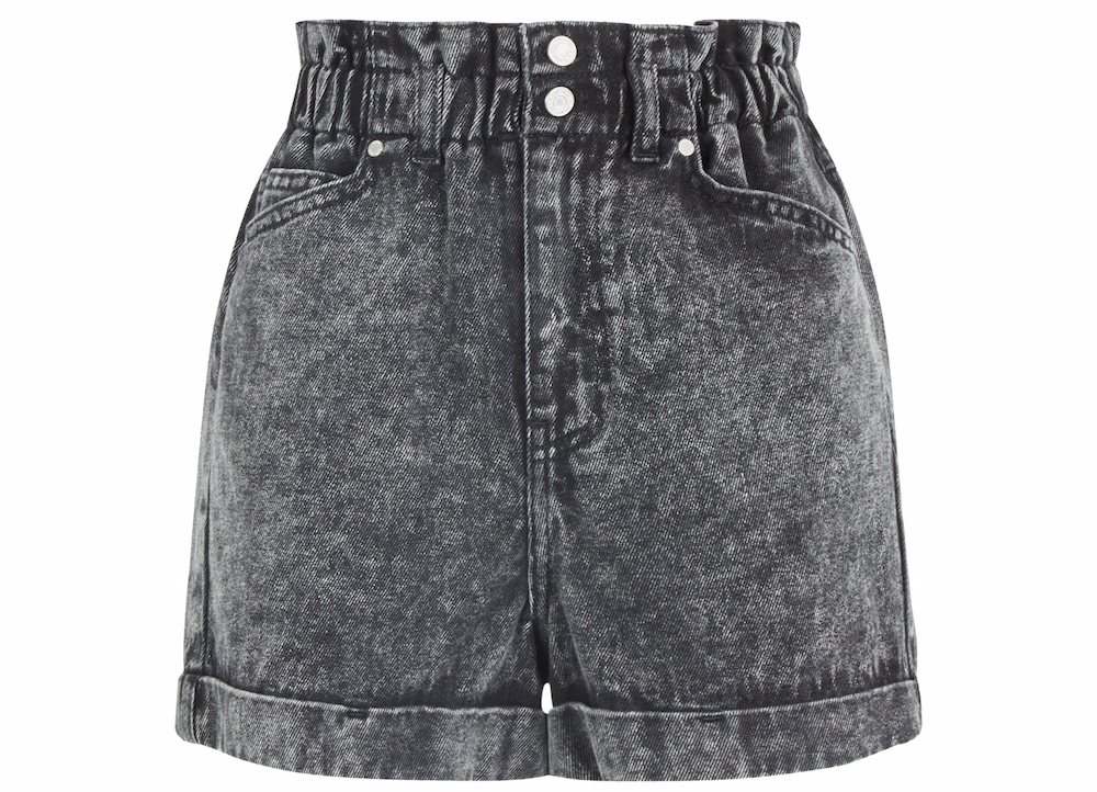 New Look Black Acid Wash Paperbag Denim Shorts