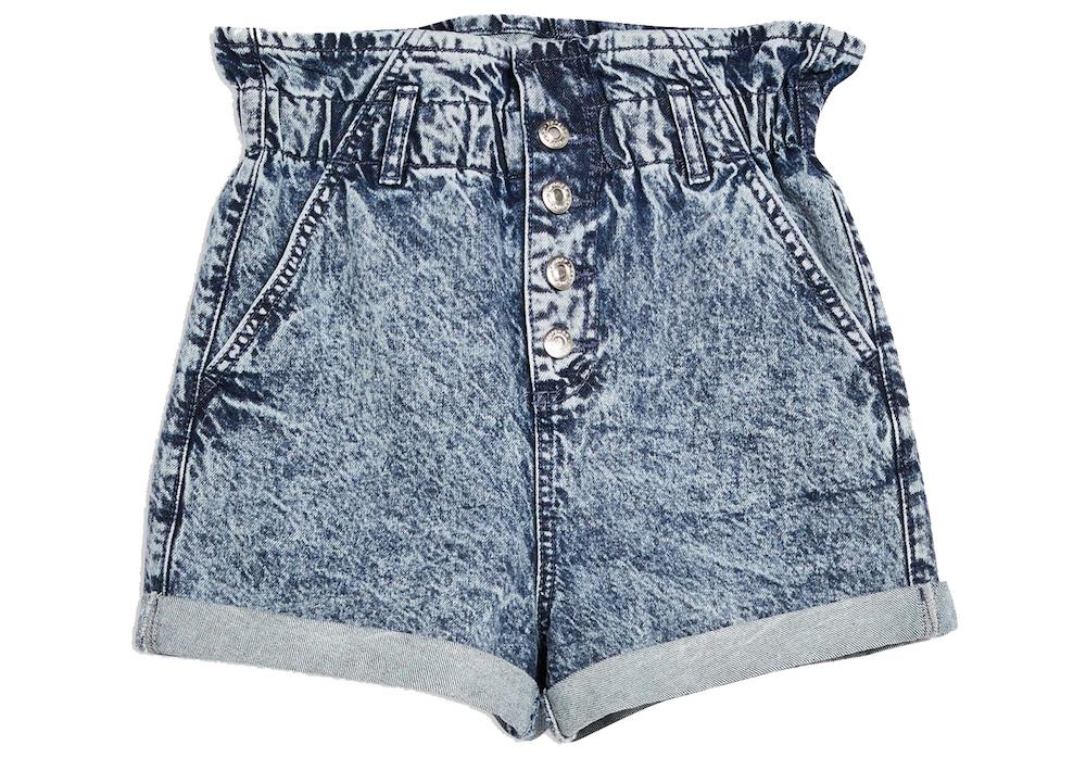 Topshop Acid Wash Paperbag Denim Shorts