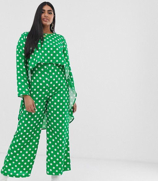 Verona Curve long sleeved layered jumpsuit in green polka dot