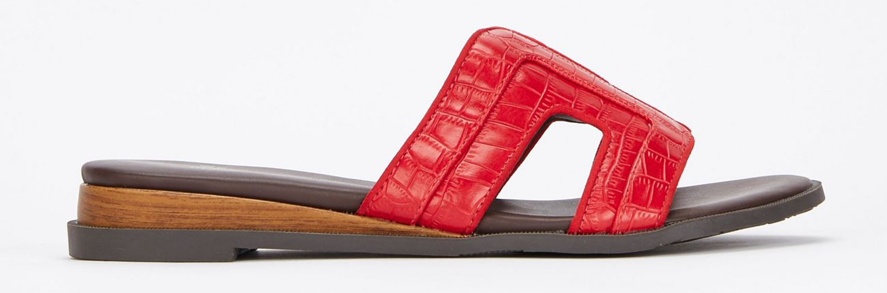Evans Extra Wide Fit Red Mini Wedge Mules, currently reduced to £31.50/AED147.10