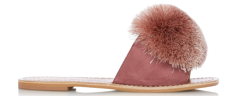 Dune Latino Cappuccino Suede Pom Pom Slider Sandal, £78/AED364.24