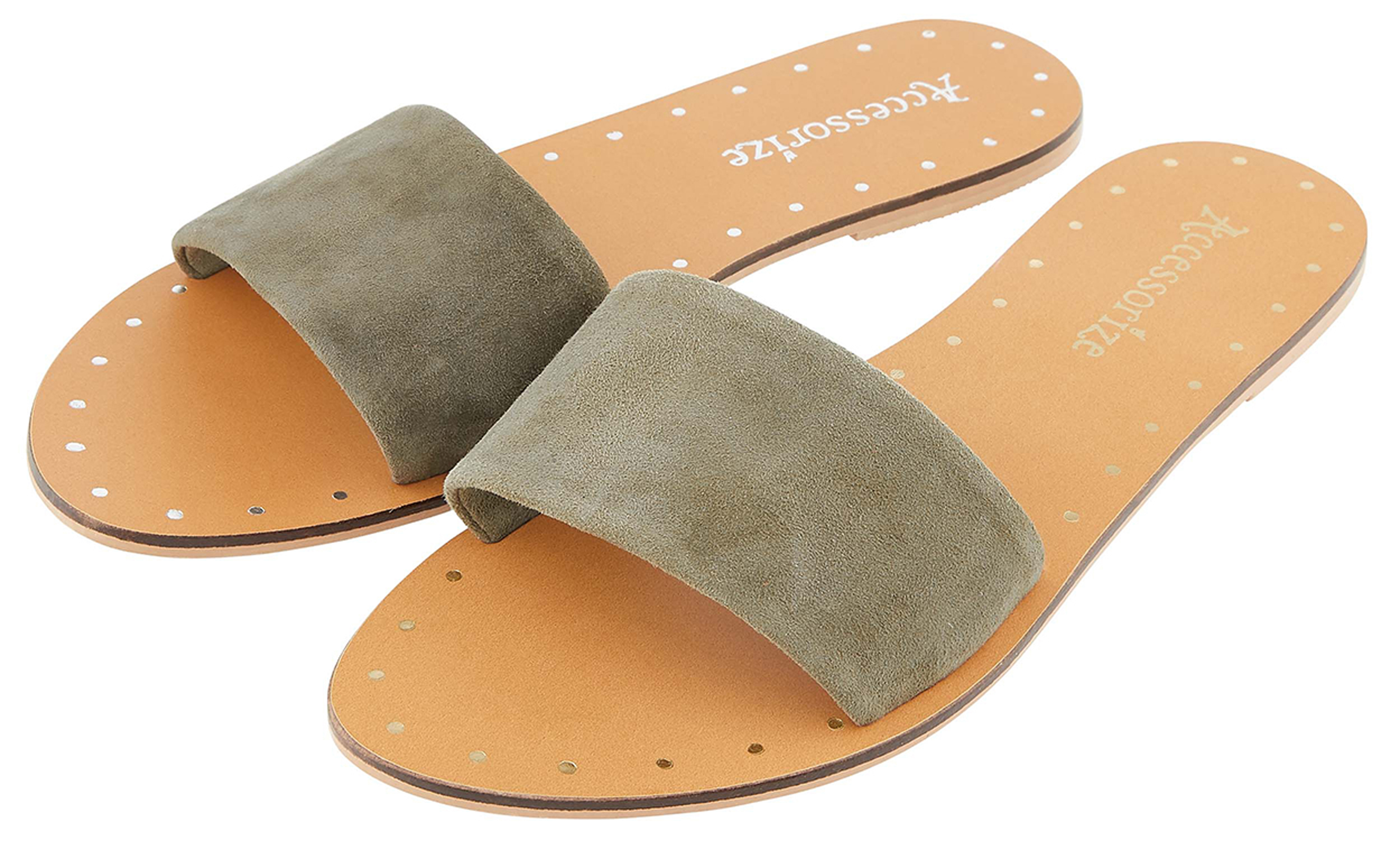 Accessorize Lisbon Suede Sliders, currently reduced to £15.75/AED73.55