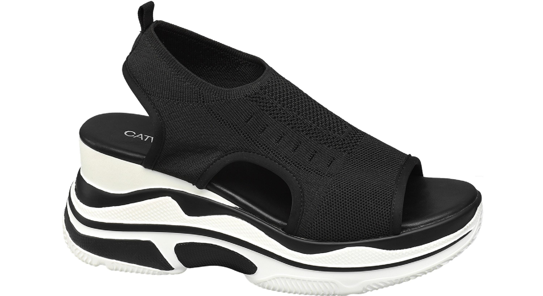 Deichmann Black Platform Knitted Sporty Sandals, £29.99/AED140.05
