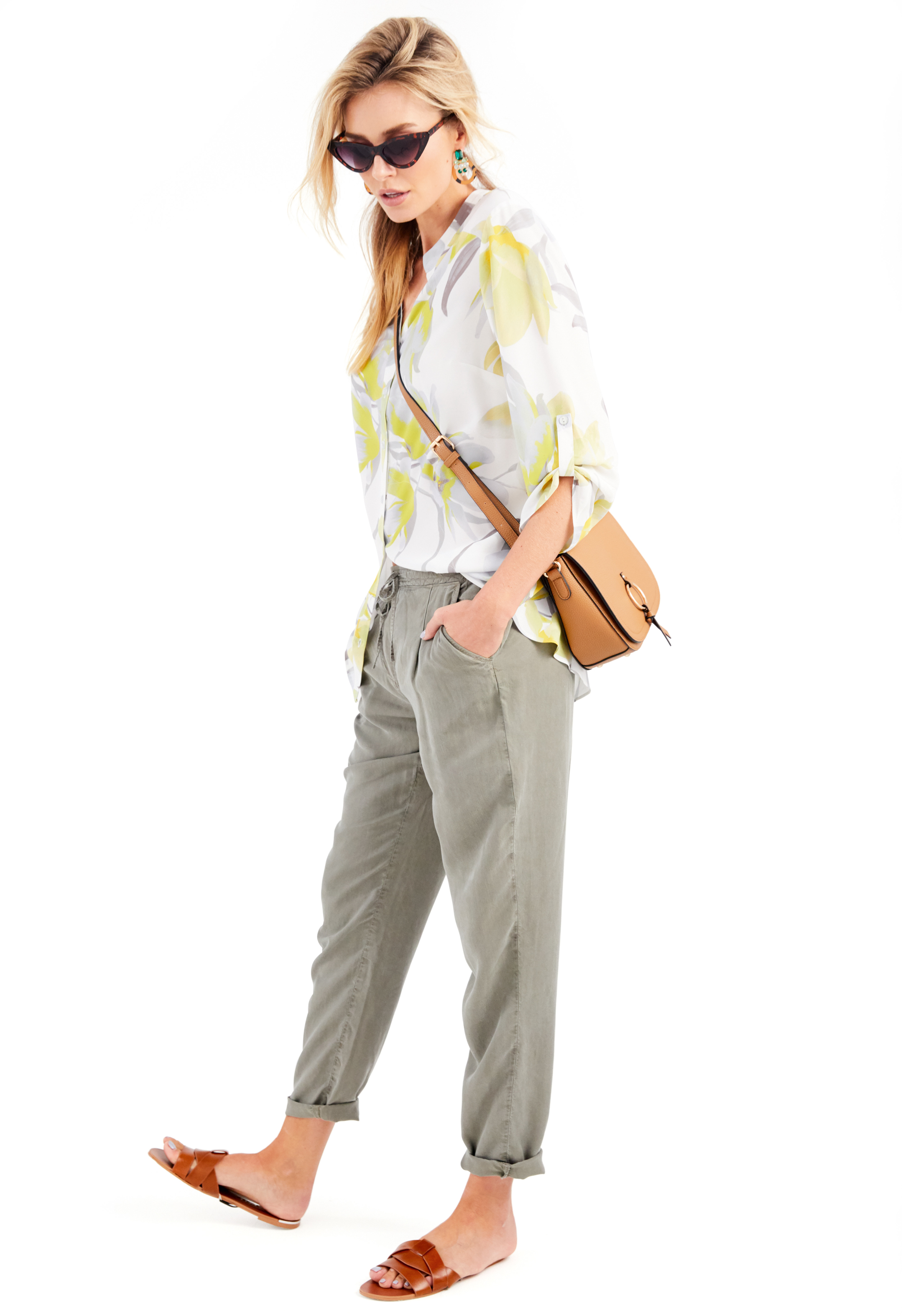 Damart Printed Longline Blouse; Khaki Tencel Trousers; Camel Bag (other items, stylist's own)
