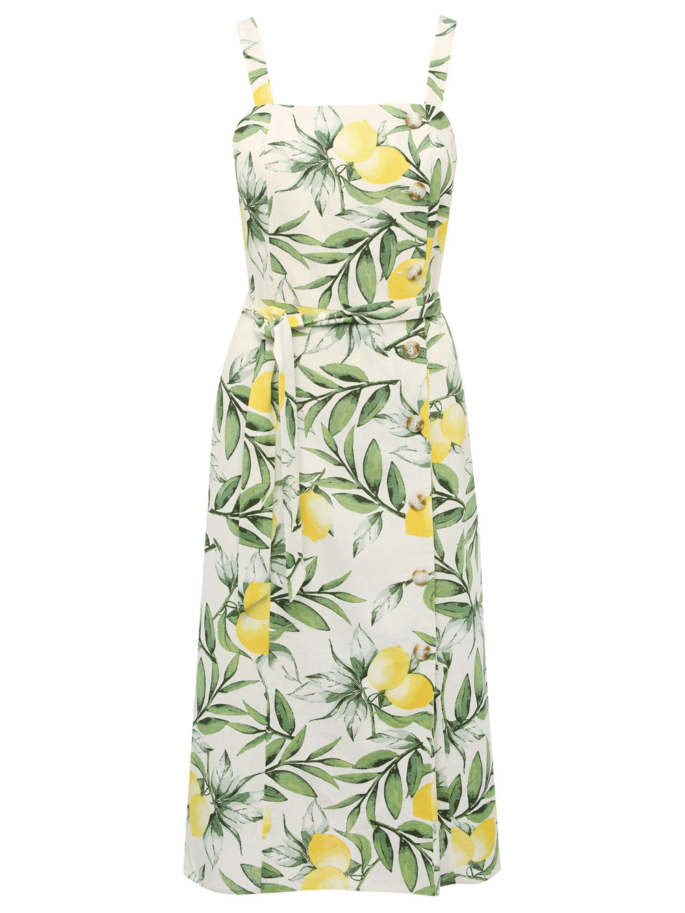 M&Co Lemon Print Linen Midi Dress