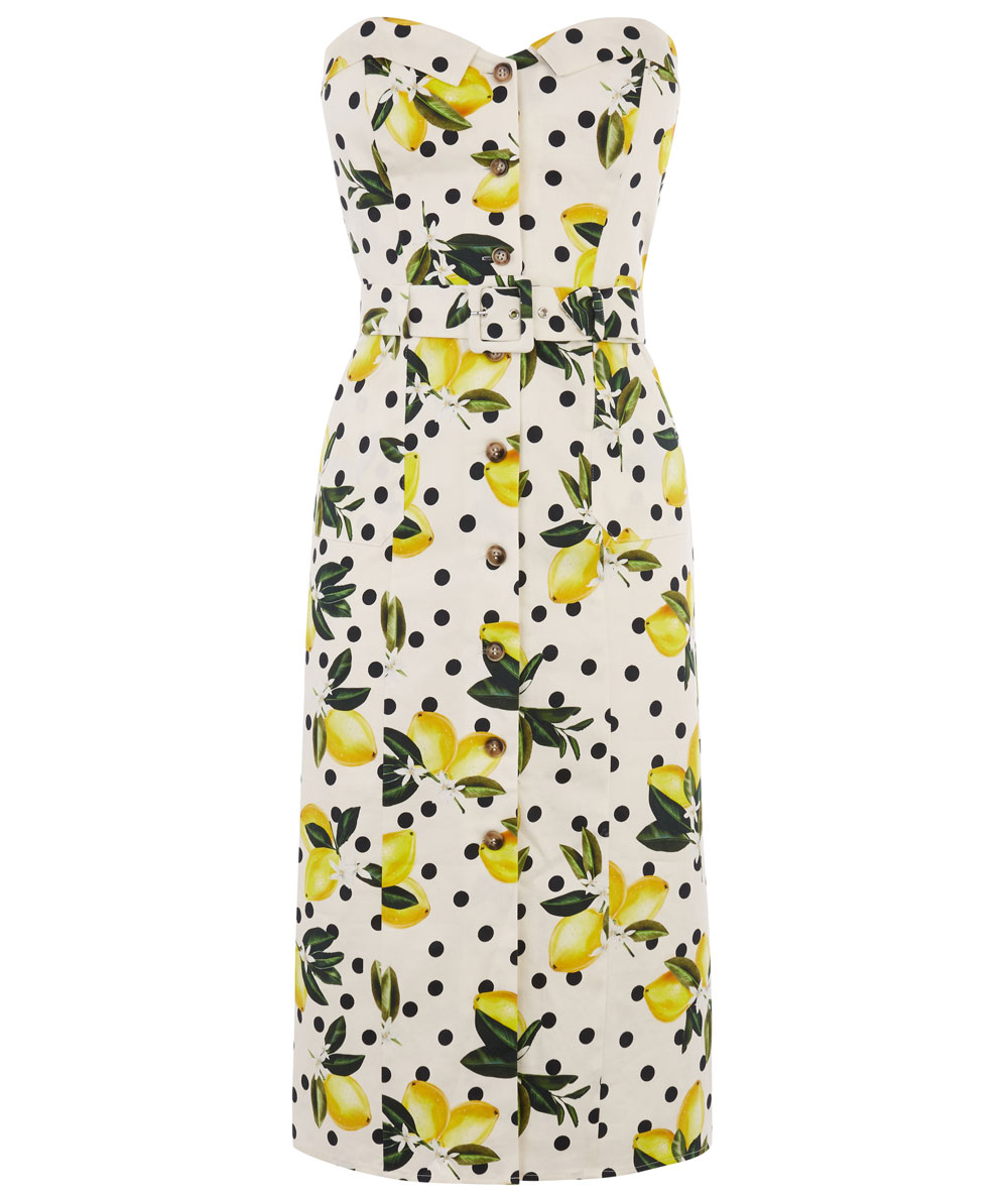 Oasis Lemon Bandeau Dress