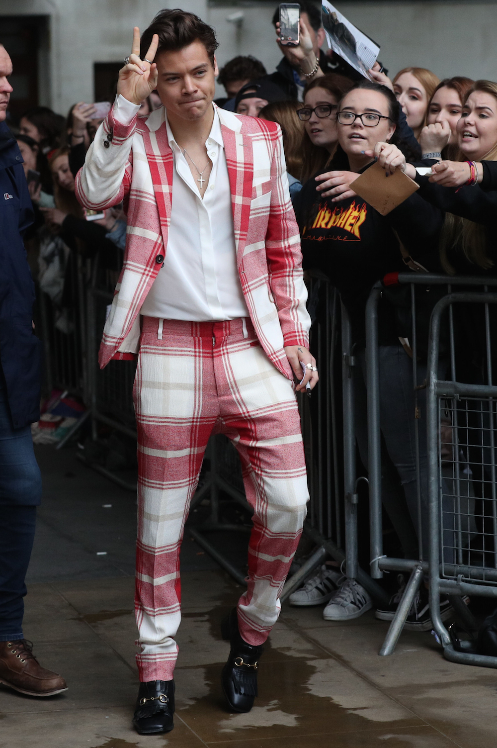 Co-chair Harry Styles isn't afraid of a jazzy suit