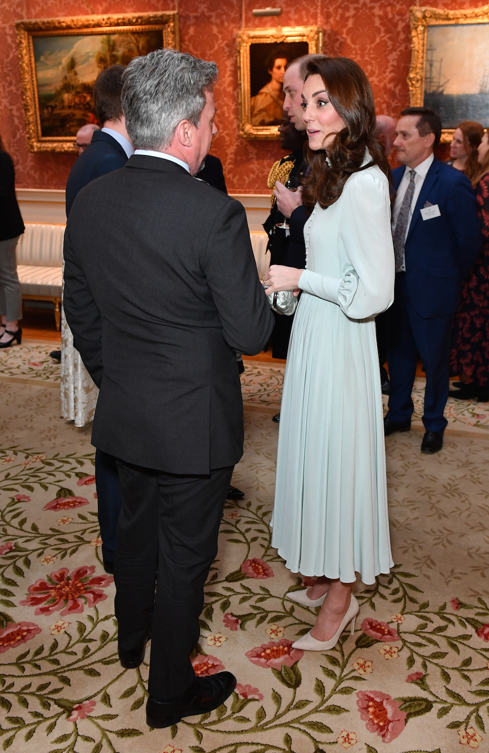 The Duchess of Cambridge opted for a chic blue dress