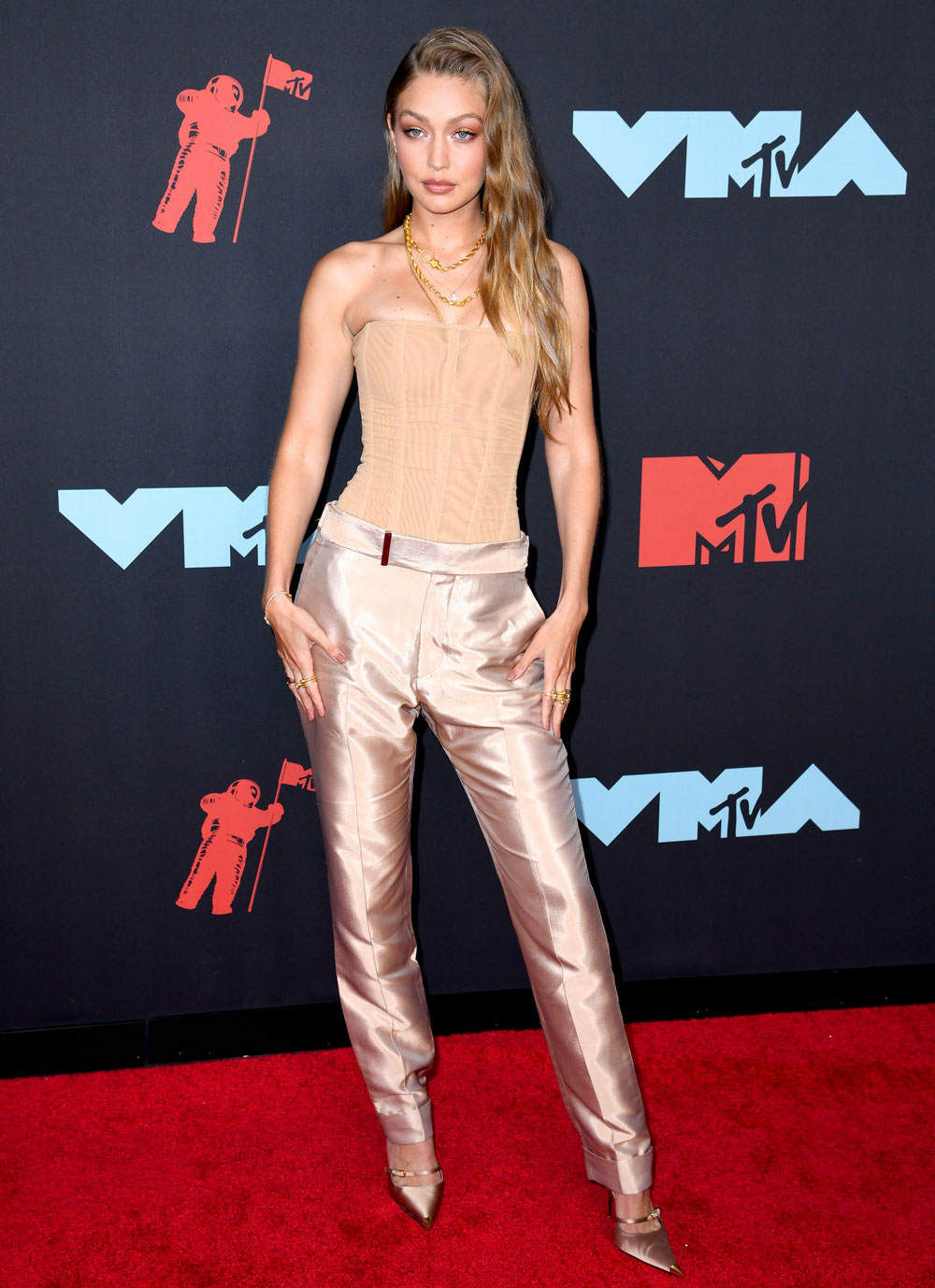 Shiny bootcut trousers