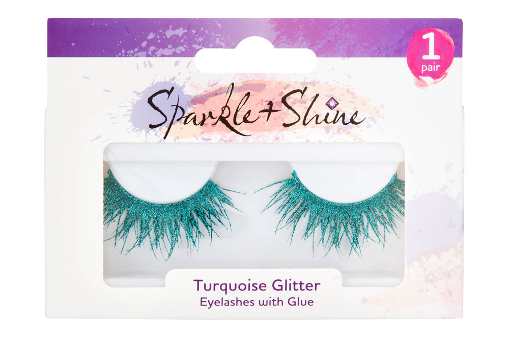 Poundland Sparkle and Shine Turquoise Glitter Eyelashes, £1/AED4.47 (available in store only)