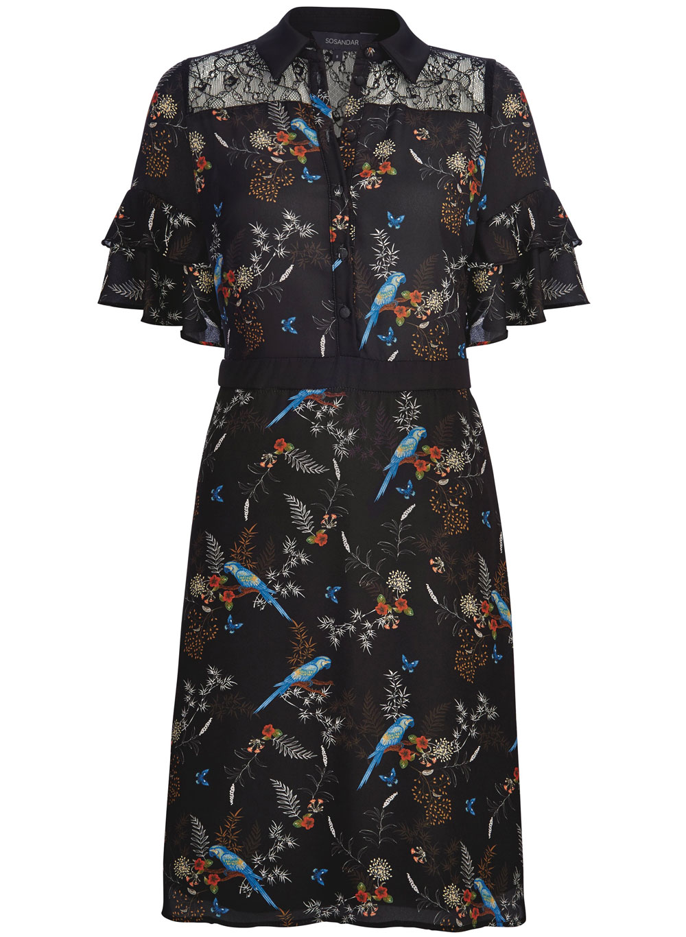 Sosandar Black Parrot Print Lace Detail Dress, £69/AED309.22