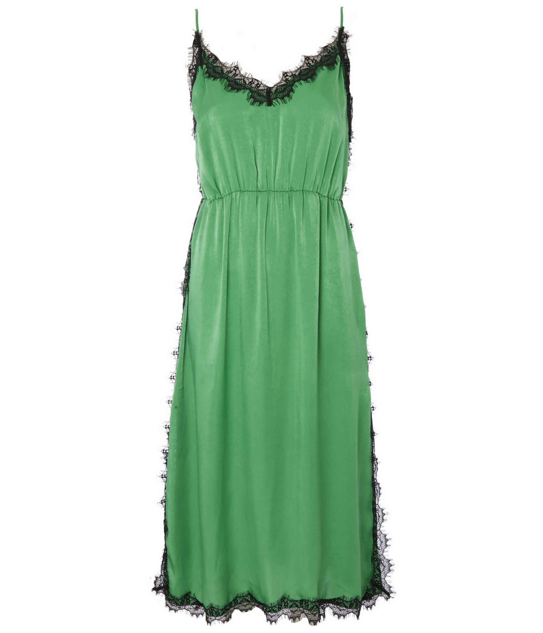 George at Asda Green Satin Lace Eyelash Trim Slip Dress, currently reduced to £10/AED44.81 from £18/AED80.67