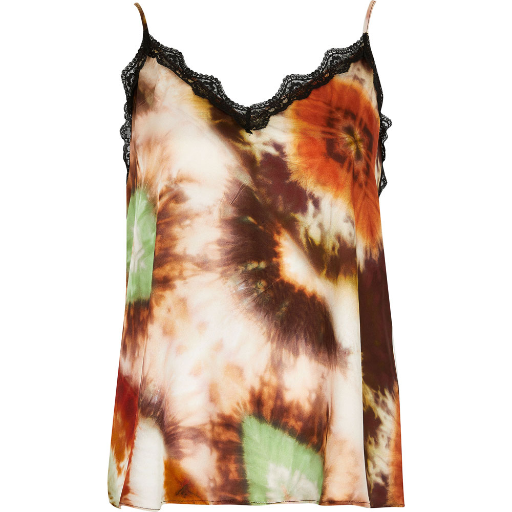 River Island Brown Print Lace Trim Cami, £18/AED80.67