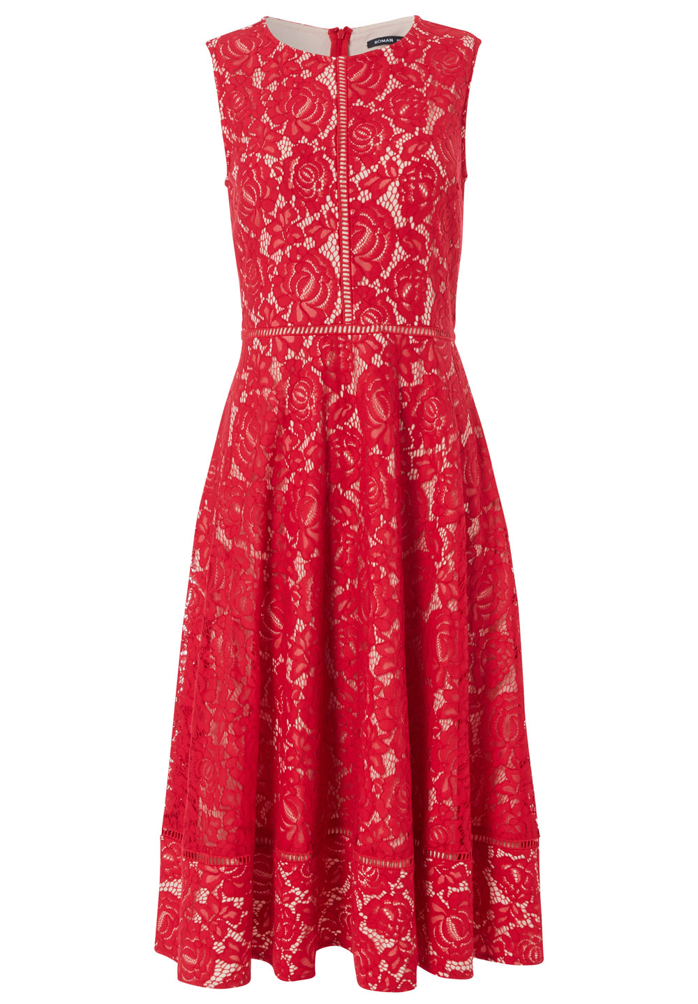 Roman Lace Fit And Flare Lace Midi Dress, £60/AED268.89