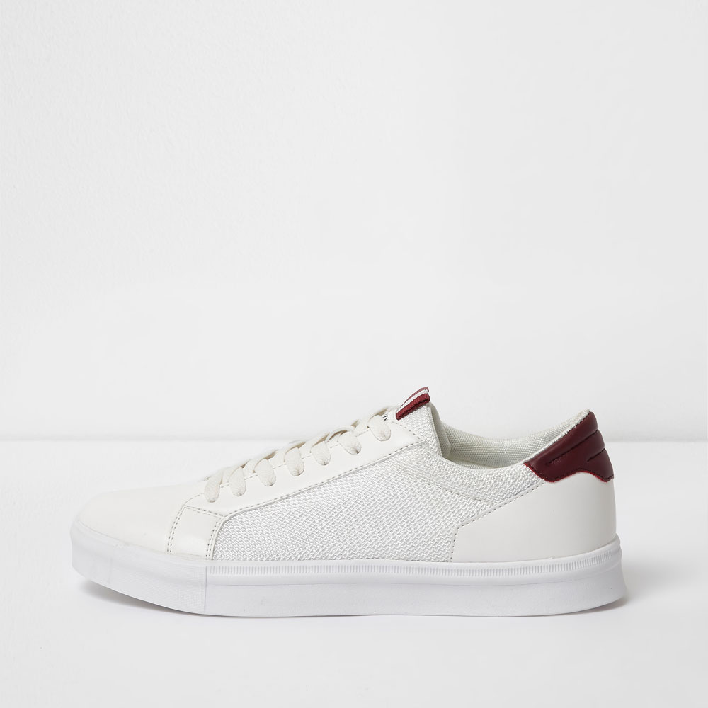 River Island white mesh side panel lace-up trainers, £25/AED110.45