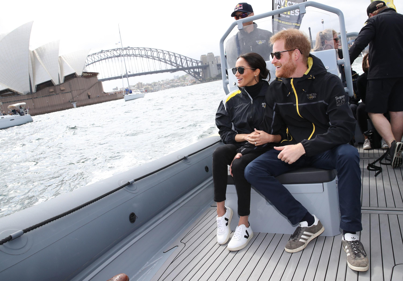 Meghan wearing Veja trainers in Sydney in 2018