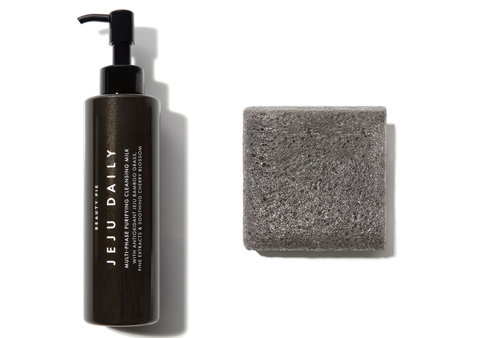 Beauty Pie Jeju Daily Multi-Phase Purifying Cleansing Milk, £28/AED126.28; Jeju Bamboo Charcoal Konjac Cloths, £15/AED67.65 for two