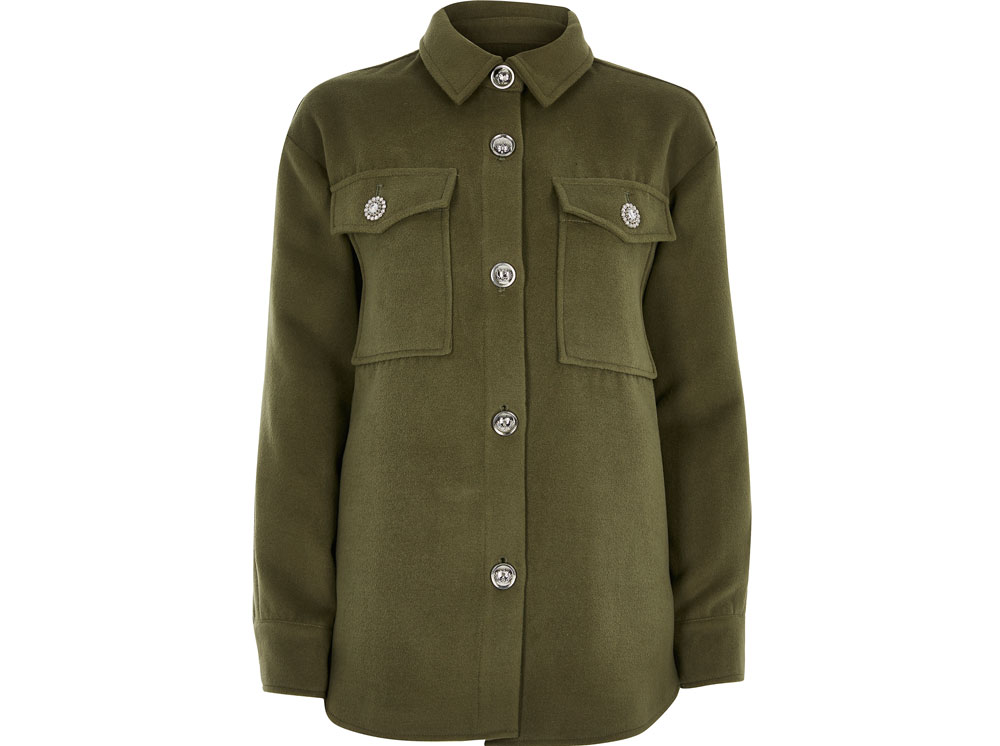 River Island Khaki Button Front Overshirt, £55/AED249.55