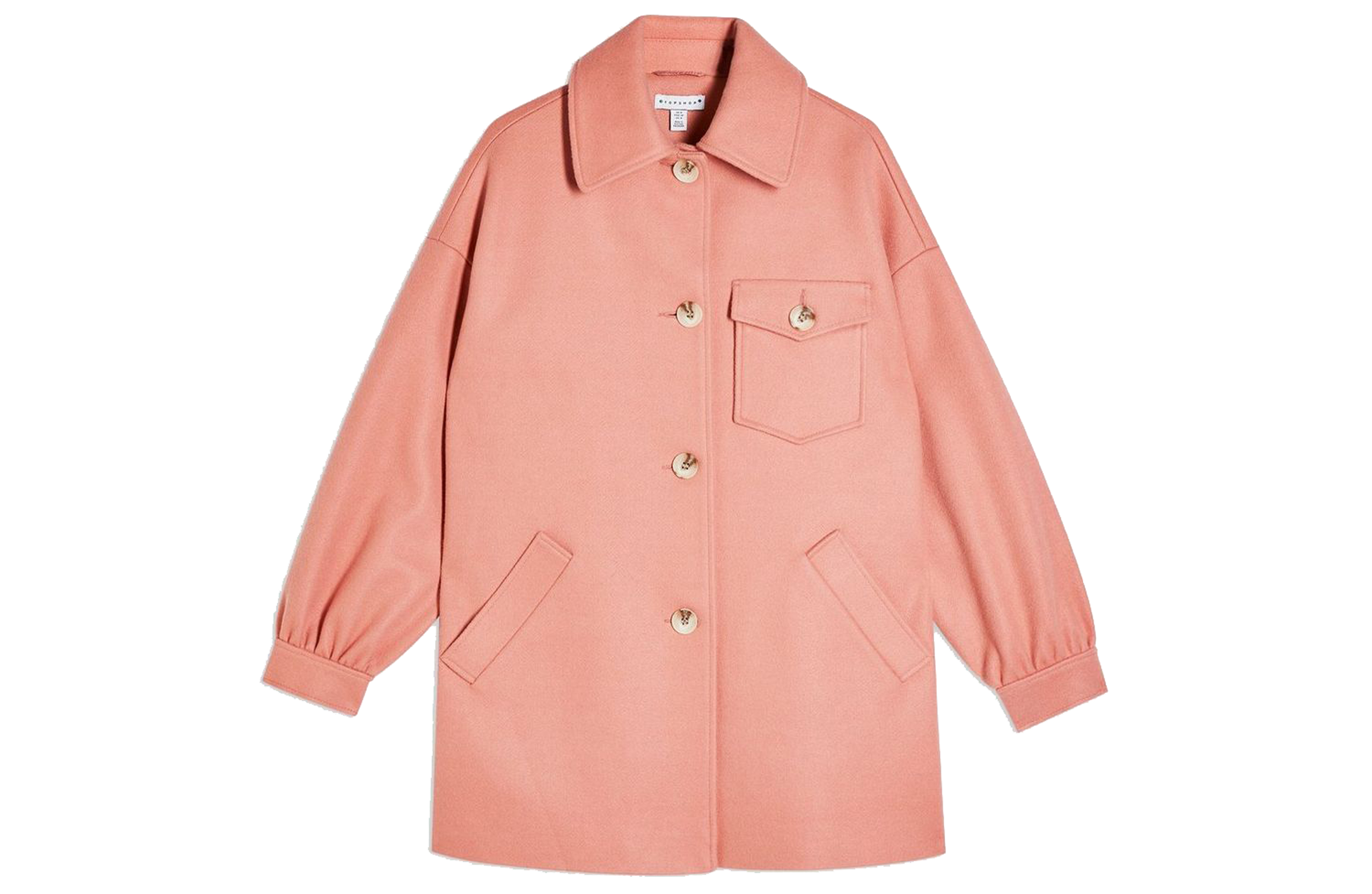 Topshop Apricot Shacket With Wool, £59/AED267.70