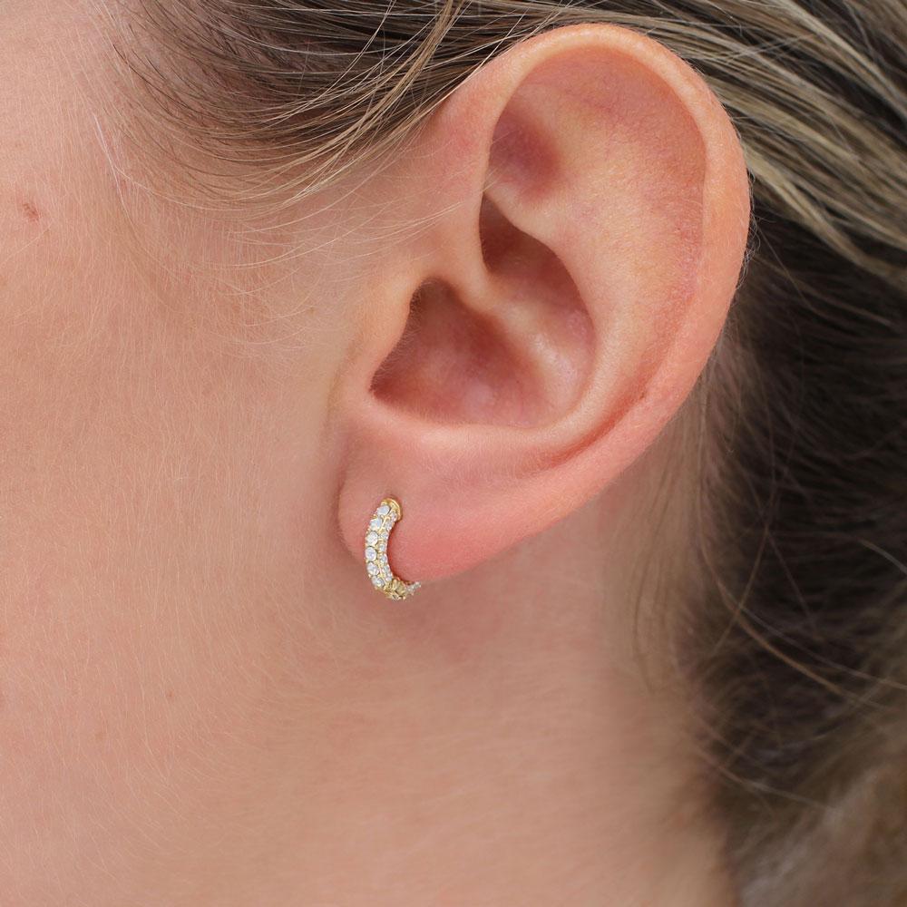 Hurley Burley 18ct Gold Vermeil and Opal Huggie Hoop Earrings