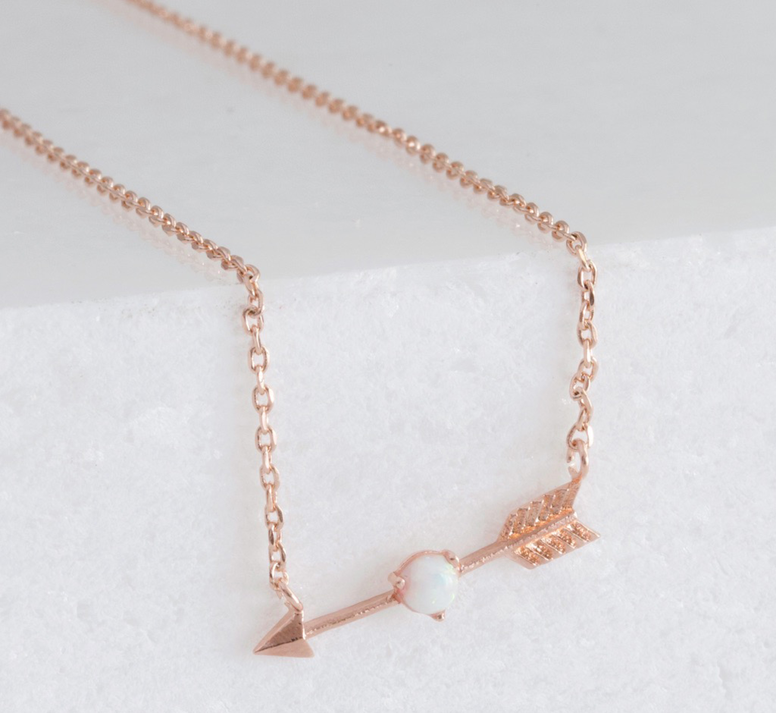 Lisa Angel Rose Gold Arrow And Opal Necklace