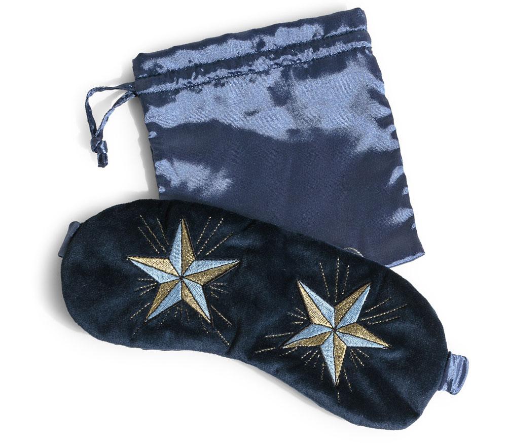Oliver Bonas Star Navy Velvet Eye Mask