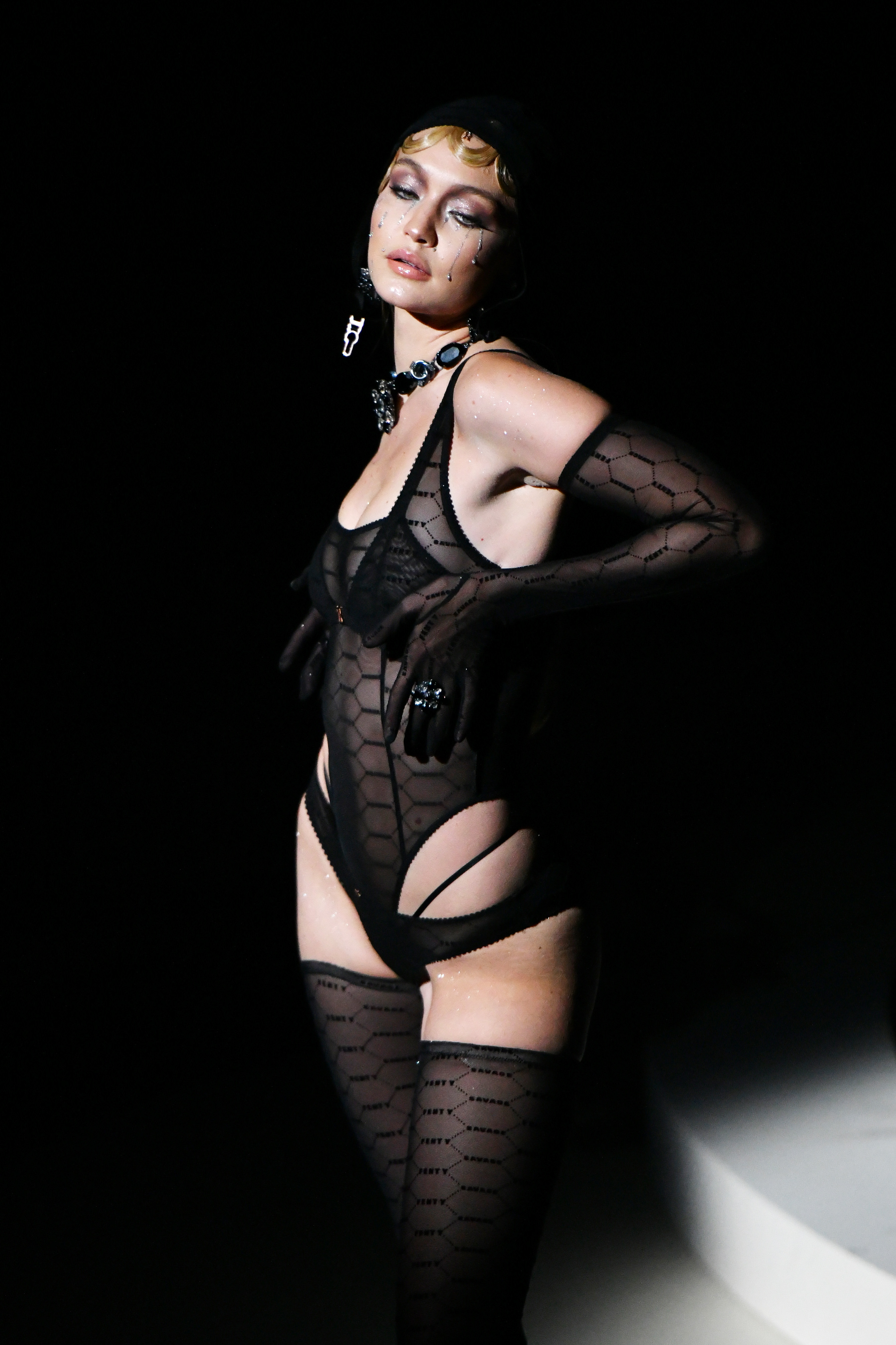 Gigi Hadid modelling one of the make-up looks