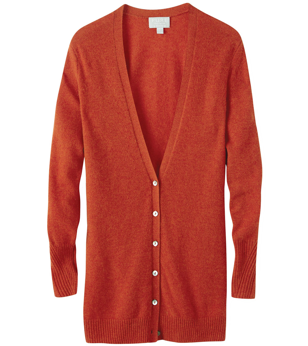 Pure Collection Spiced Orange Cashmere Boyfriend Cardigan
