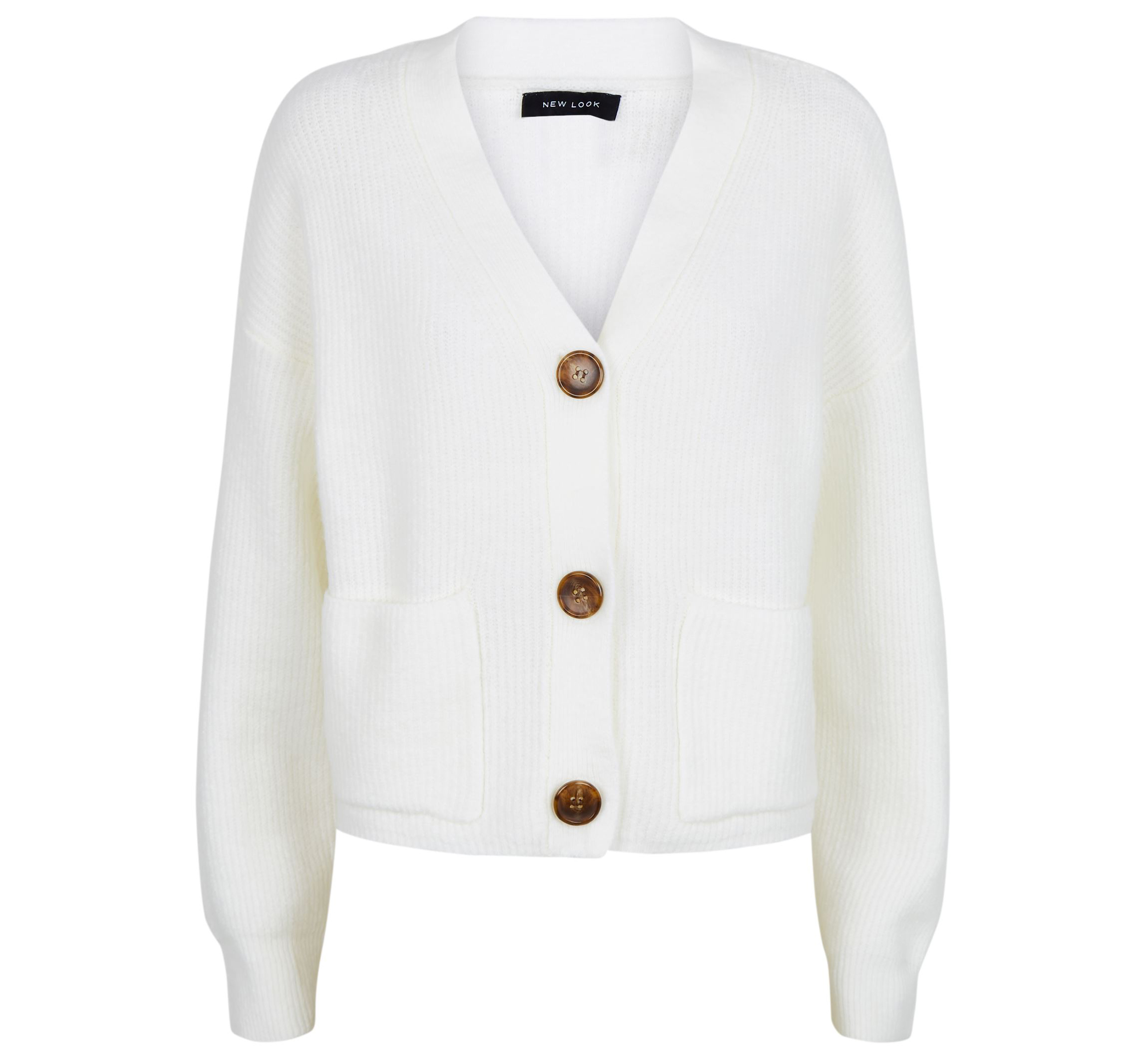 New Look Off White Knit Patch Pocket Cardigan