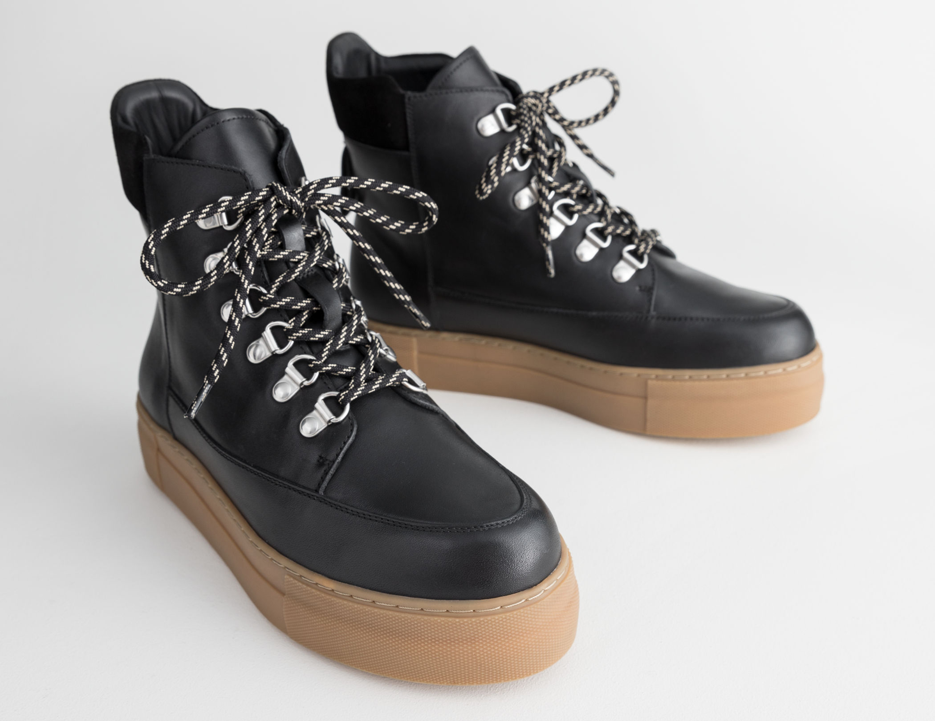 & Other Stories Lace Up Leather Snow Boots, £129/AED582.28
