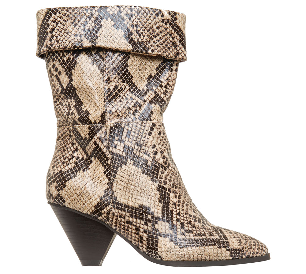 George at Asda Beige Snake Print Cone Heel Cuffed Boots, £15/AED 67.71