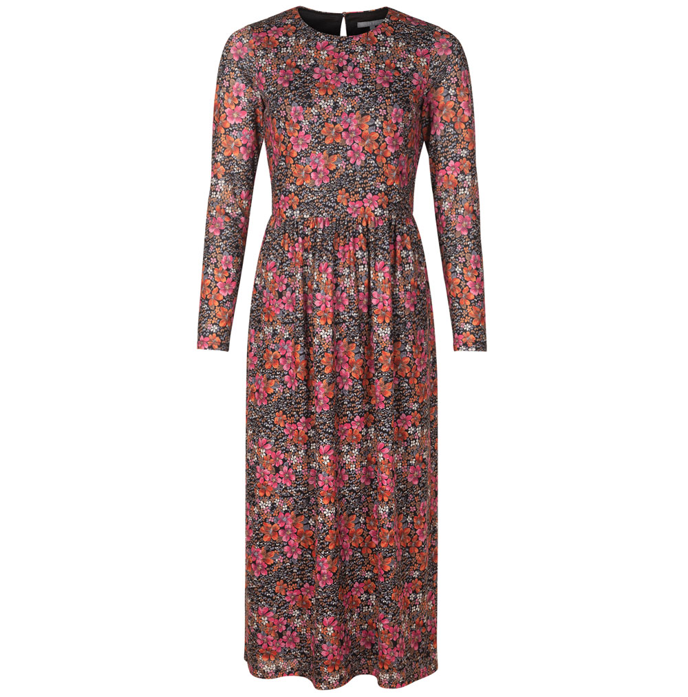 Oliver Bonas Winter Blossom Printed Mesh Midi Dress