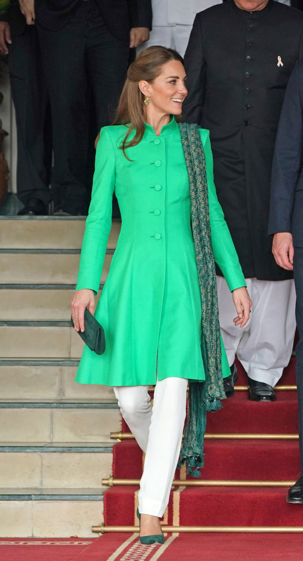 Kate goes for more bright colours in Catherine Walker and Maheen Khan